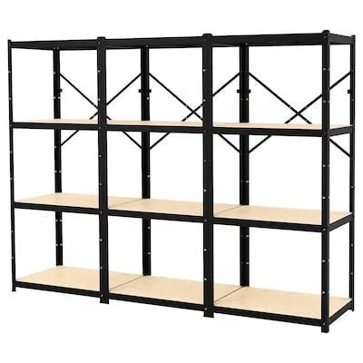 BROR 3 sections/shelves, black/wood, 254x55x190 cm