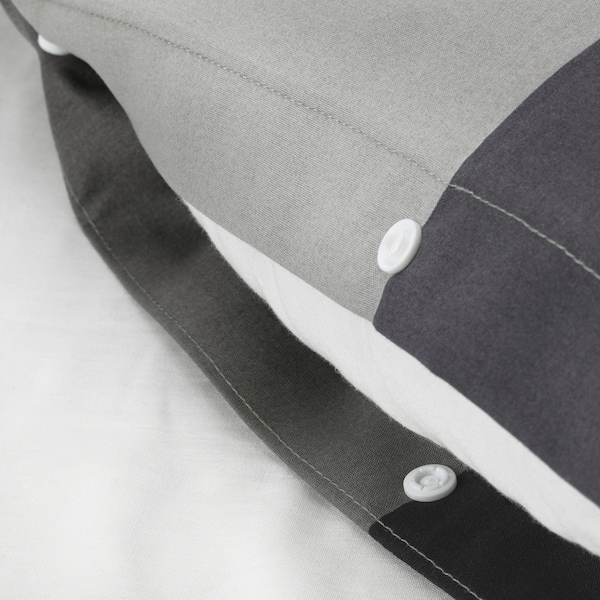 BRUNKRISSLA Duvet cover and 2 pillowcases, black, 200x200/50x80 cm