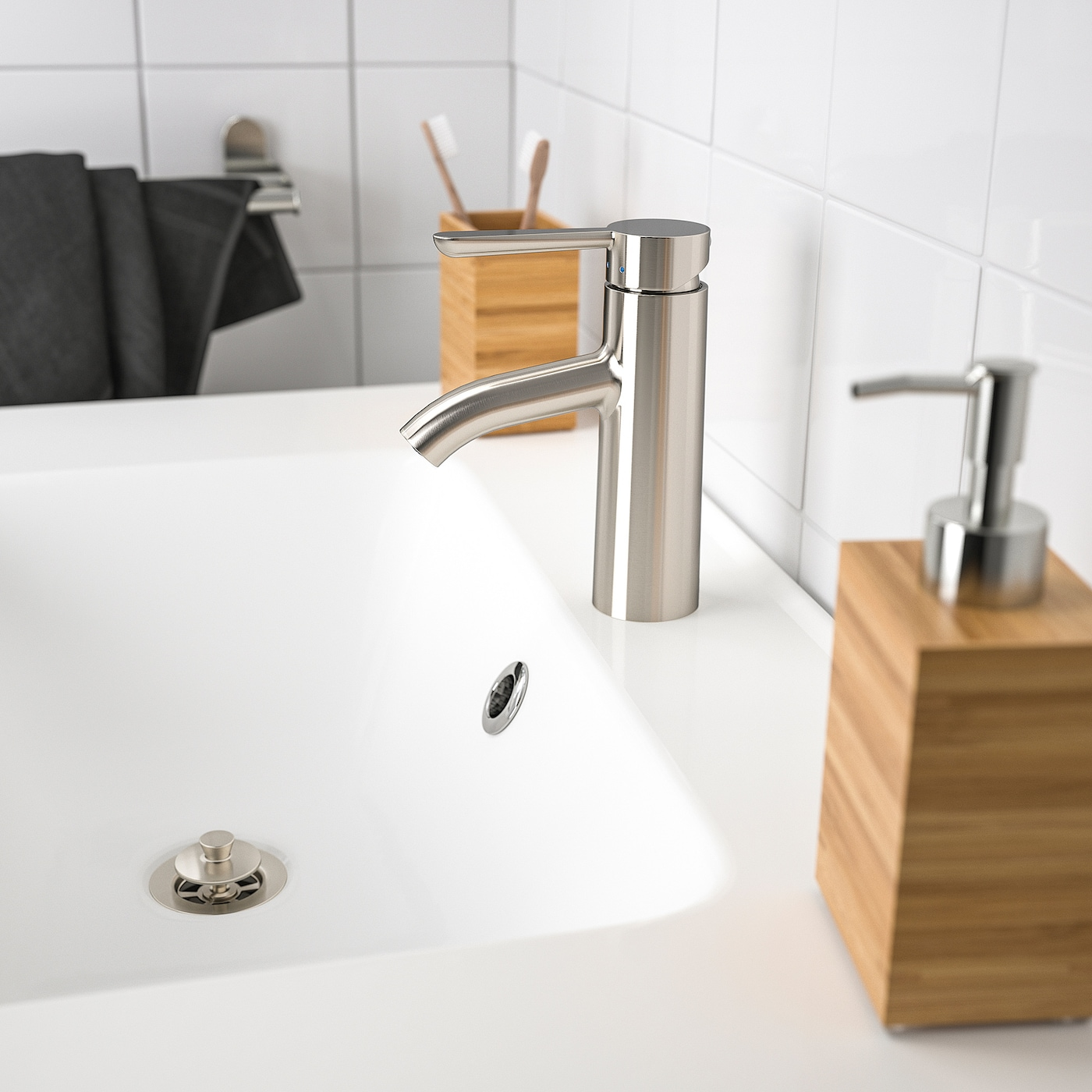 DALSKÄR Wash-basin mixer tap with strainer, stainless steel colour