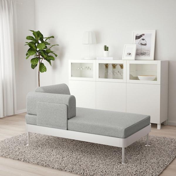 DELAKTIG Chaise longue with armrest, Tallmyra white/black