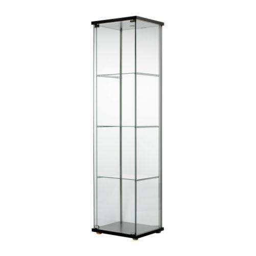 detolf glass-door cabinet - black-brown - ikea