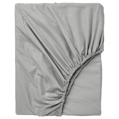 DVALA Fitted sheet, light grey, 150x200 cm