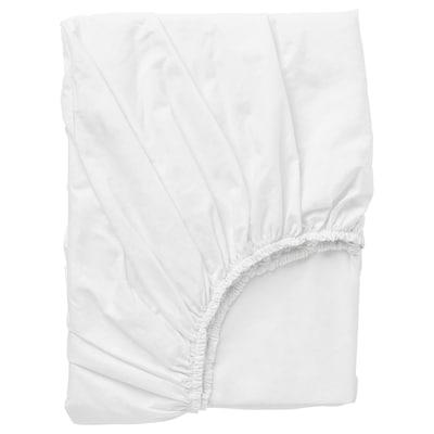 DVALA Fitted sheet, white, 150x200 cm