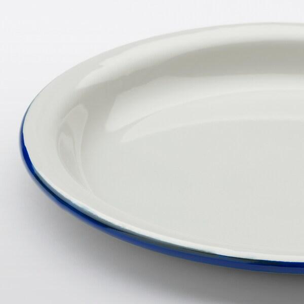 EGENDOM Plate, light grey/dark blue, 23 cm