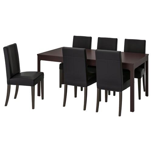 EKEDALEN / HENRIKSDAL table and 6 chairs dark brown/Glose black 180 cm 240 cm