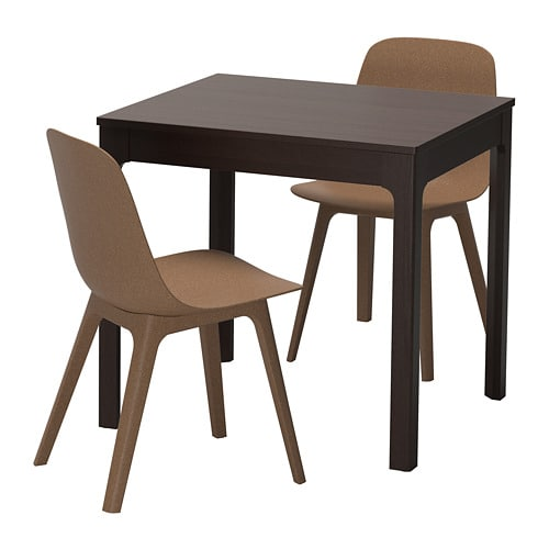 EKEDALEN / ODGER Table And 2 Chairs, Dark Brown, Brown