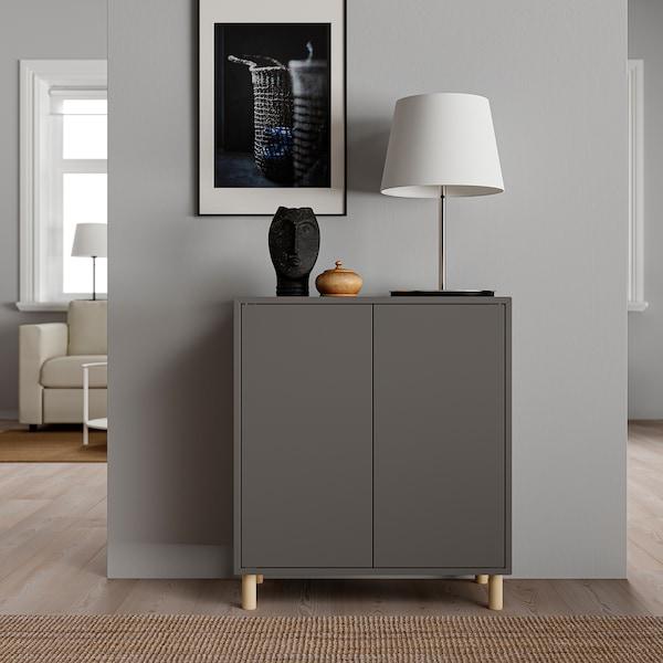 EKET Cabinet combination with legs, dark grey/wood, 70x35x80 cm