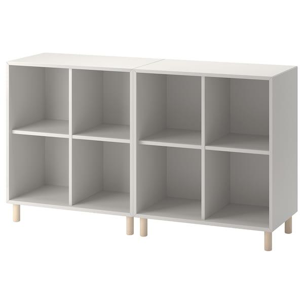 EKET Cabinet combination with legs, light grey/wood, 140x35x80 cm
