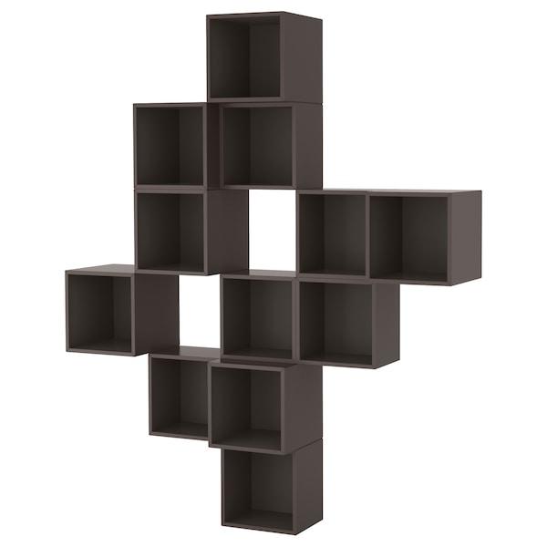 EKET Wall-mounted cabinet combination, dark grey, 175x35x210 cm