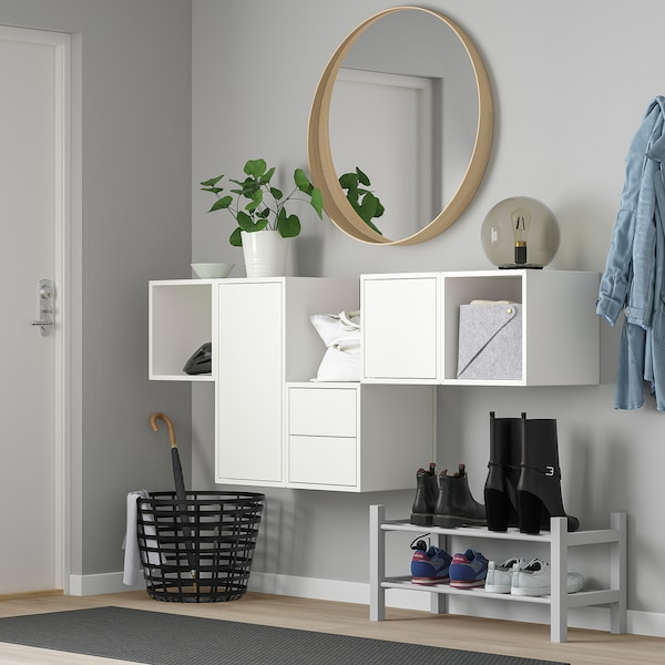 EKET Wall-mounted cabinet combination, white, 175x35x70 cm