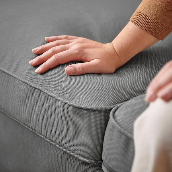 EKTORP 3-seat sofa with chaise longue, Remmarn light grey