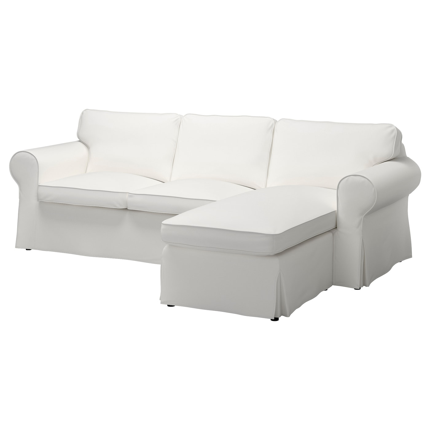 - EKTORP Cover For 3-seat Sofa - Vittaryd With Chaise Longue, Vittaryd White  - IKEA
