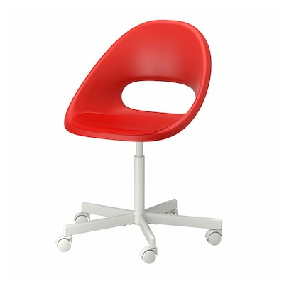 ELDBERGET / BLYSKÄR Swivel chair, red/white