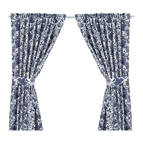 EMMIE KVIST Curtains with tie-backs, 1 pair   The curtains can be used on a curtain rod or KVARTAL curtain track.