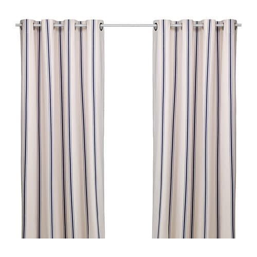 ESTRID Curtains, 1 pair   The eyelet heading allows you to hang the curtains directly on a curtain rod.