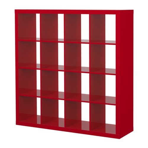 EXPEDIT Shelving unit   The high-gloss surfaces reflect light and give a vibrant look. Finished on all sides; can be used as a room divider.