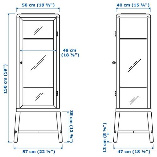 FABRIKÖR Glass-door cabinet, pale grey-green, 57x150 cm