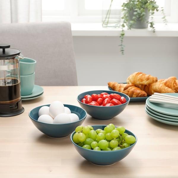 FÄRGKLAR Bowl, glossy dark turquoise, 16 cm