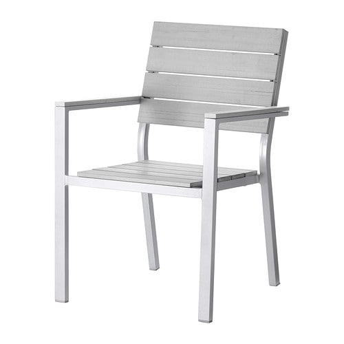 FALSTER Chair with armrests, outdoor   Can be stacked, which helps you save space.