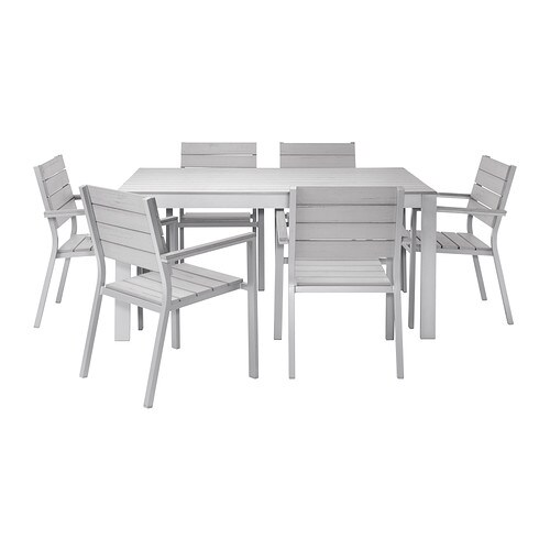FALSTER Table+6 chairs w armrests, outdoor   The polystyrene slats are weather-resistant and easy to care for.
