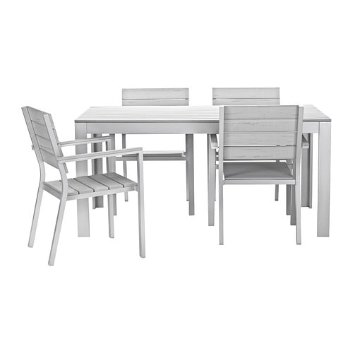 FALSTER Table+4 chairs w armrests, outdoor   The polystyrene slats are weather-resistant and easy to care for.