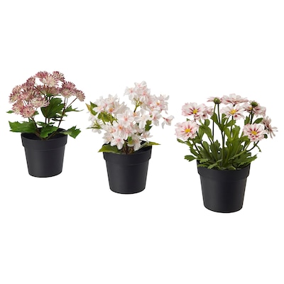 FEJKA Artificial potted plant, in/outdoor pink, 9 cm 3 pieces