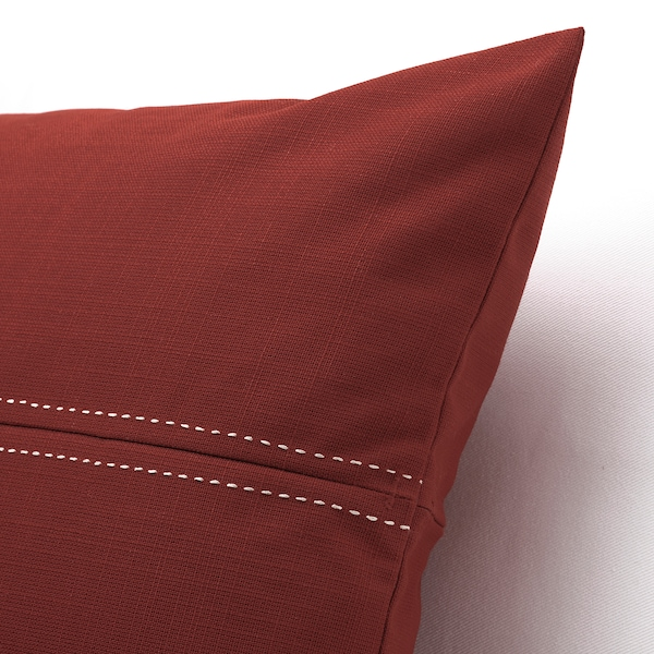 FESTHOLMEN Cushion cover, in/outdoor, red/light grey-beige, 40x65 cm