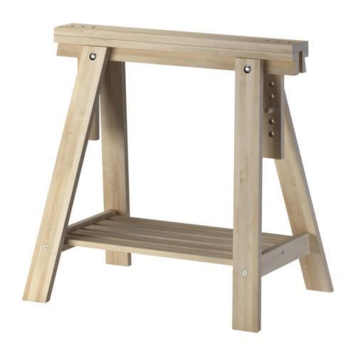 FINNVARD Trestle with shelf   Solid wood, a durable natural material.