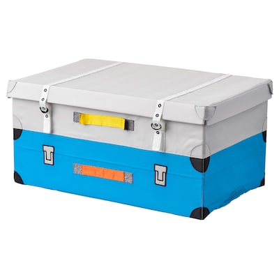 FLYTTBAR Trunk for toys, turquoise, 57x35x28 cm