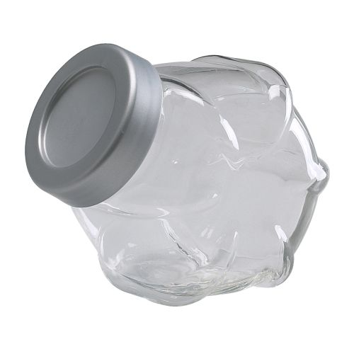 FÖRVAR Jar with lid   Opens to the front, making the contents easy to reach.  Transparent; makes it easy to find what you're looking for.