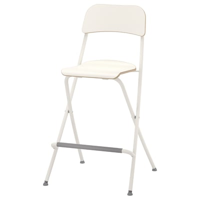 FRANKLIN Bar stool with backrest, foldable, white/white, 63 cm