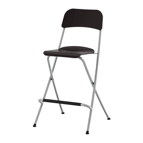FRANKLIN Bar stool with backrest, foldable   Folds flat; space-saving when not in use.  With footrest for relaxed sitting posture.