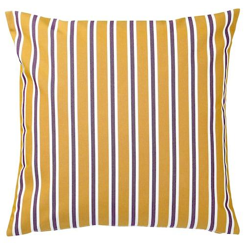 FUNKÖN cushion cover, in/outdoor dark yellow/purple 50 cm 50 cm