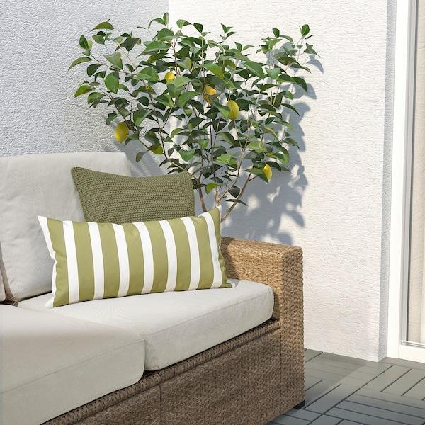 FUNKÖN Cushion, in/outdoor, beige-green/white, 30x58 cm
