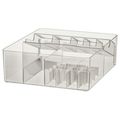 GODMORGON Box with compartments, smoked, 32x28x10 cm