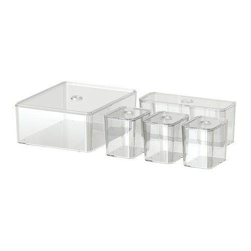 GODMORGON Box with lid, set of 5   Helps you organise your jewellery, make-up and bottles.  10 year guarantee.