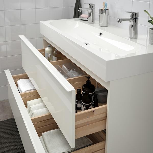 GODMORGON / BRÅVIKEN Wash-stand with 2 drawers, high-gloss white/Brogrund tap, 100x48x68 cm