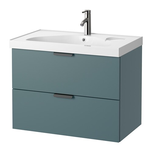 GODMORGON / EDEBOVIKEN Wash-stand with 2 drawers - grey-turquoise ...