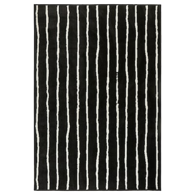 GÖRLÖSE Rug, low pile, black/white, 133x195 cm
