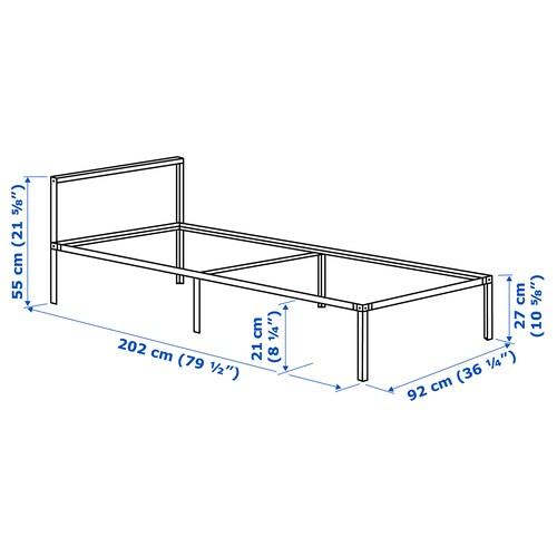 GRIMSBU Bed frame, grey/Luröy, 90x200 cm