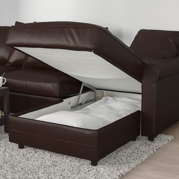 GRÖNLID 3-seat sofa-bed, with chaise longue/Kimstad dark brown