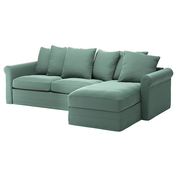 GRÖNLID 3-seat sofa-bed, with chaise longue/Ljungen light green