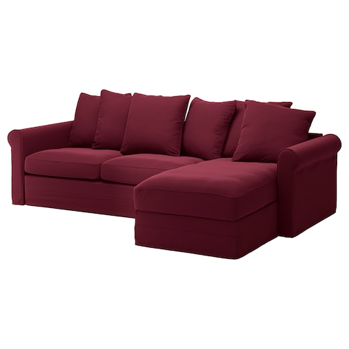 GRÖNLID 3-seat sofa-bed with chaise longue/Ljungen dark red 53 cm 104 cm 68 cm 164 cm 277 cm 98 cm 126 cm 60 cm 49 cm 140 cm 200 cm 12 cm