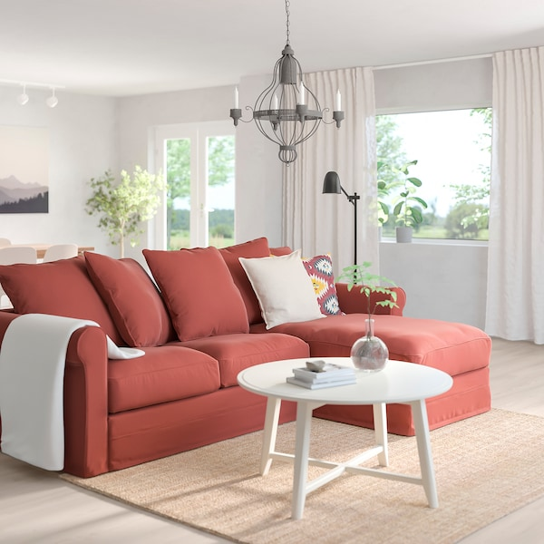 GRÖNLID 3-seat sofa, with chaise longue/Ljungen light red