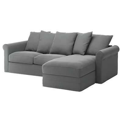 GRÖNLID 3-seat sofa, with chaise longue/Ljungen medium grey