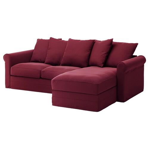 GRÖNLID 3-seat sofa with chaise longue/Ljungen dark red 104 cm 164 cm 258 cm 98 cm 126 cm 7 cm 18 cm 68 cm 222 cm 60 cm 49 cm