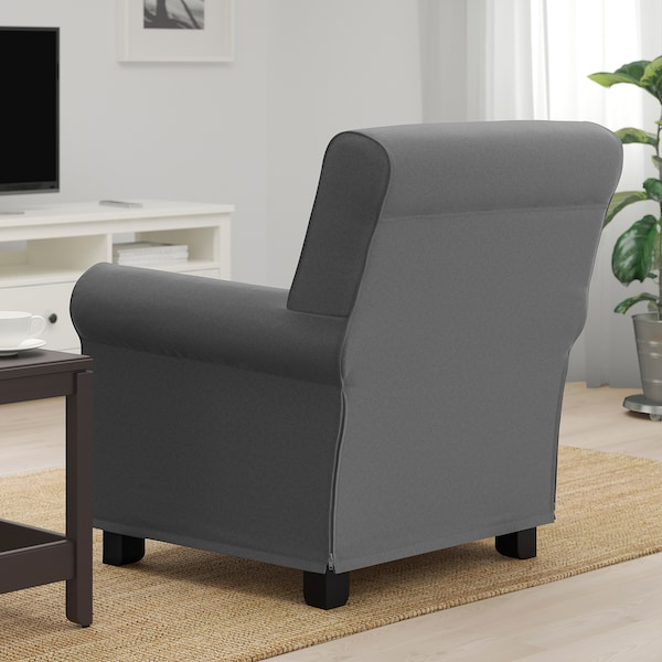 GRÖNLID Armchair, Ljungen medium grey