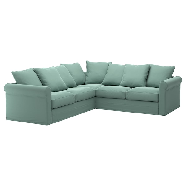 GRÖNLID Cover for corner sofa, 4-seat, Ljungen light green