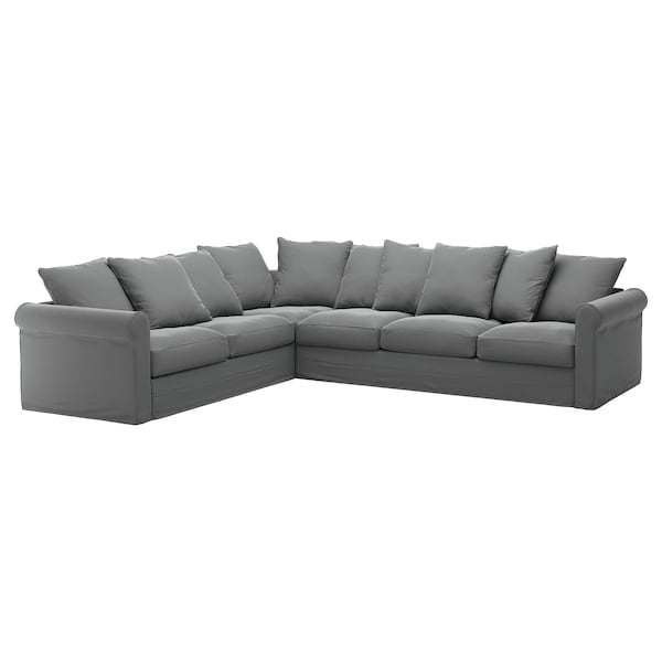GRÖNLID Cover for corner sofa, 5-seat, Ljungen medium grey
