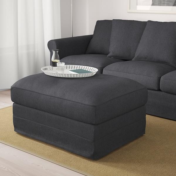 GRÖNLID Footstool with storage, Sporda dark grey